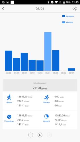 Lenovo HW01 Fitness Tracker App Schrittzähler Woche