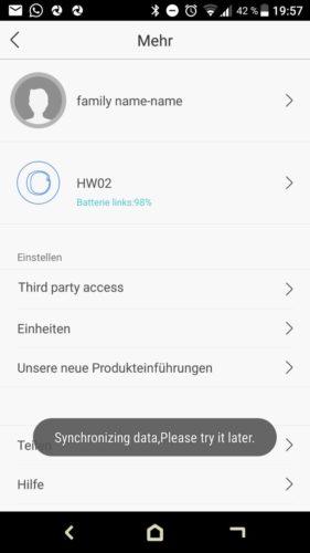 Lenovo HW02 Fitness Tracker App Einstellungen