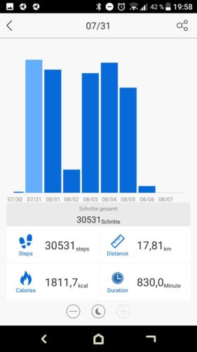 Lenovo HW02 Fitness Tracker App Schrittzähler Ergebnisse