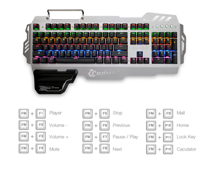 Die Shortcuts für die mechanische Gaming-Tastatur 7pin PK-900