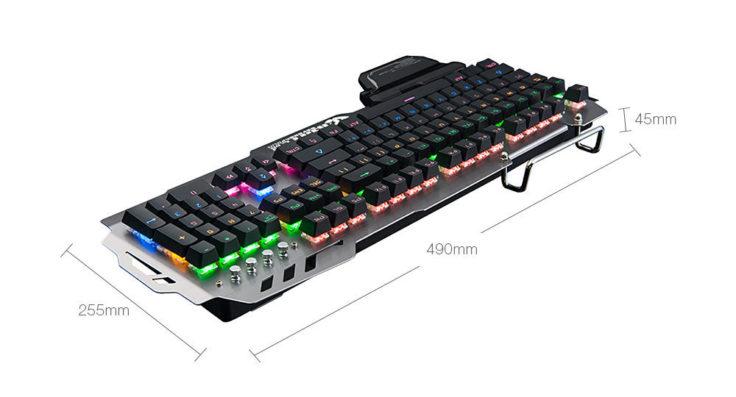 Die Maße der mechanische Gaming-Tastatur 7pin PK-900 sind 49,00 x 25,50 x 4,50 cm