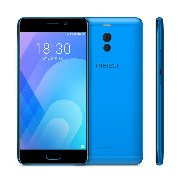 Meizu Note 6 in Blau in Front- & Rückansicht