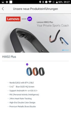 Lenovo HW01 Fitness Tracker App Produktneuheiten