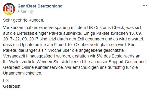 GearBest Statement Germany Express