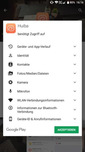 Haier XShuai T370 Saugroboter App Berechtigungen