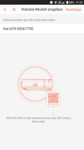 Haier XShuai T370 Saugroboter App QR-Code Scan