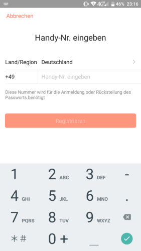 Haier XShuai T370 Saugroboter App Registrierung Handynummer