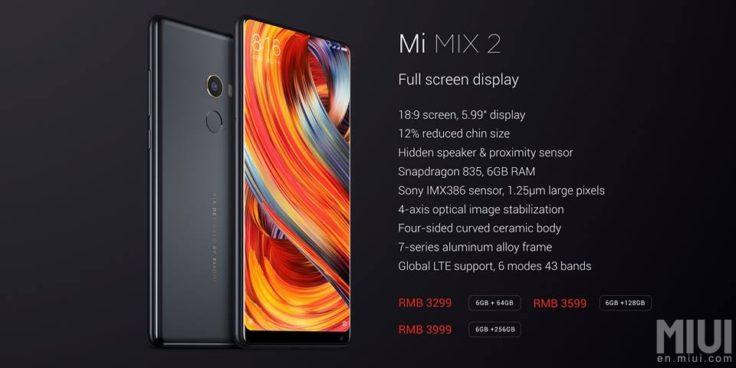 Xiaomi Mi Mix 2 Spezifikationen