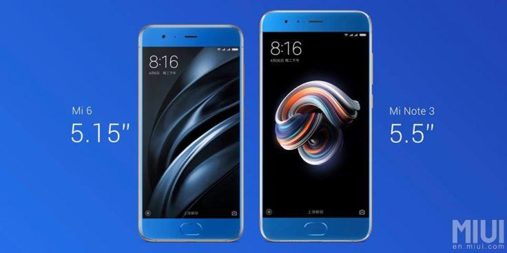 Xiaomi Mi Note 3 vs Mi 6