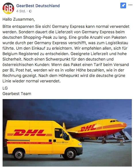 GearBest Deutschland Statement November