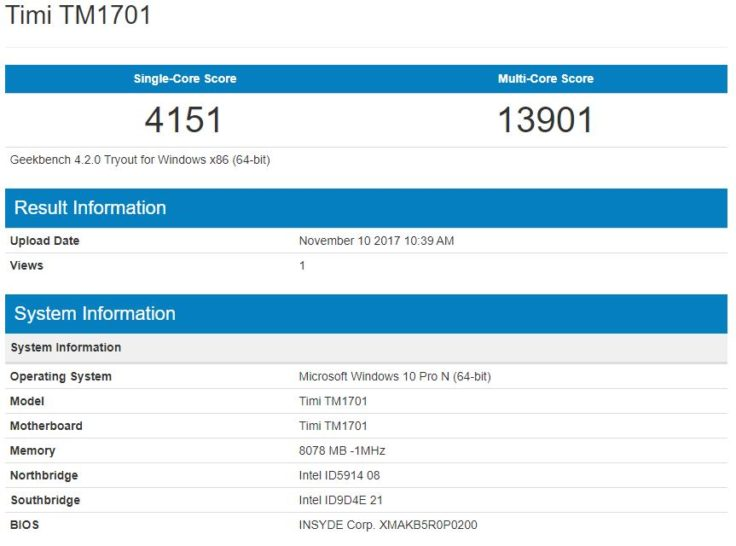 geekbench Prozessor Xiaomi Mi Notebook Pro