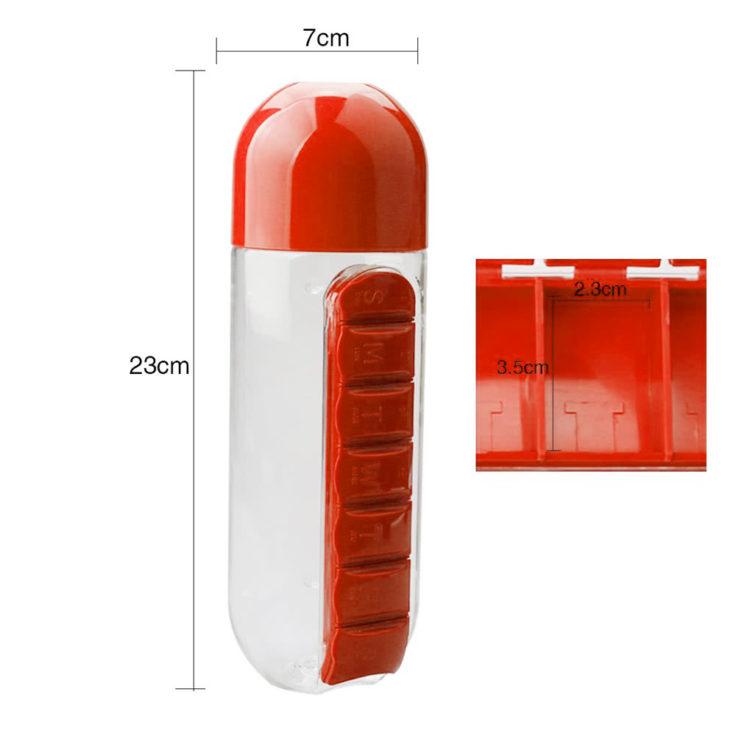 Wasserflasche mit integrierter Pillendose Maße