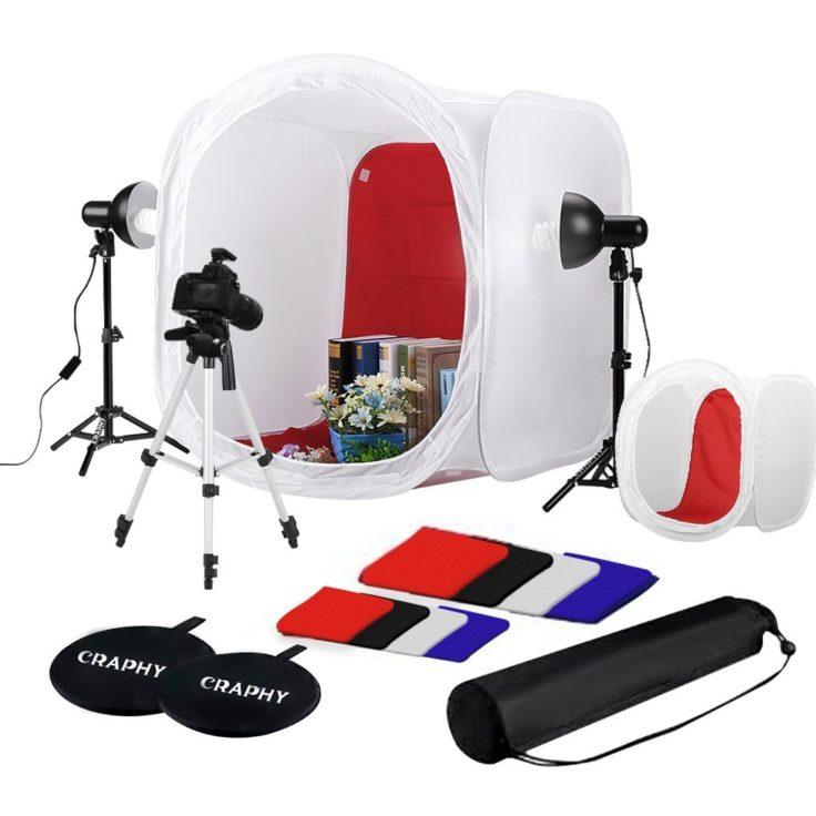 Große Fotobox mit Zubehör und Scheinwerfern