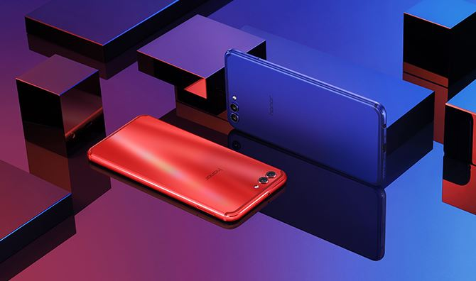 Honor V10 rot und blau