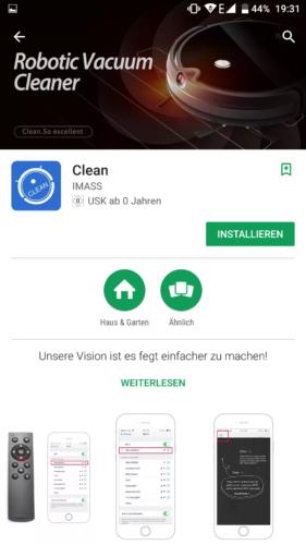 IMASS A3S Saugroboter App Store