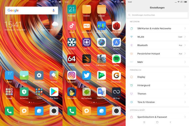 Xiaomi Mi Mix 2 MIUI Betriebssystem
