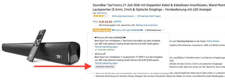 Taotronics Soundbar Gutschein Amazon