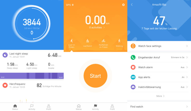 Xiaomi Mi Fit App Reiter