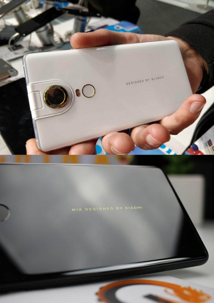 Bluboo S2 Smartphone Schriftzug im Vergleich zu Mi Mix 2