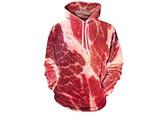Fleisch Hoodie Oberteil mit Steak Optik