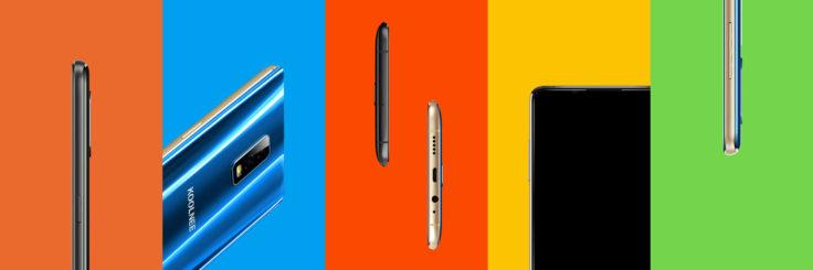 Das Design des Koolnee K1 Trio Smartphone aus verschiedenen Perspektiven.