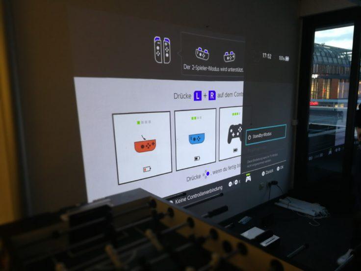 Xiaomi Beamer Laser Projector Nintendo Switch Projektion mit Controller Auswahl