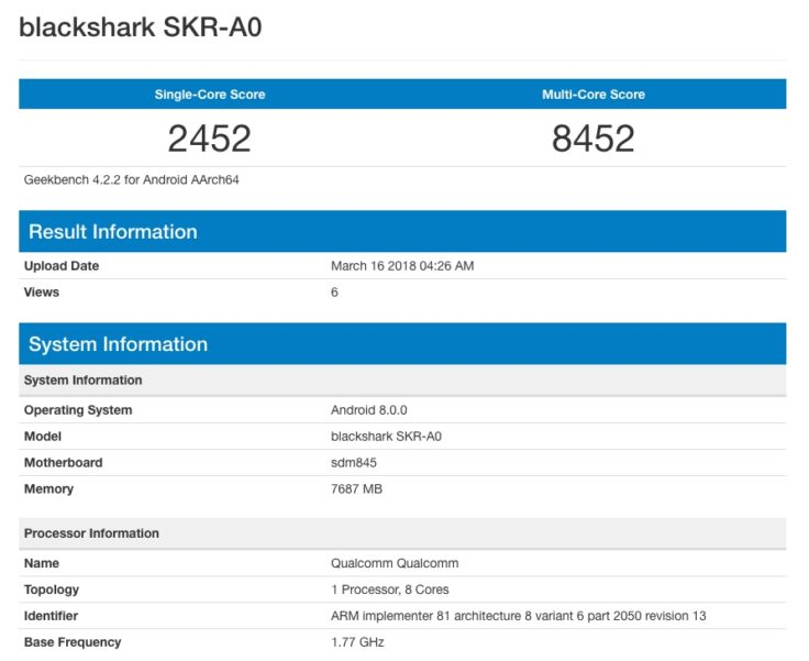 Xiaomi Blackshark Smartphone Geekbench