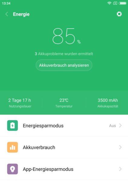 Xiaomi Mi Note 3 Akku Screenshot