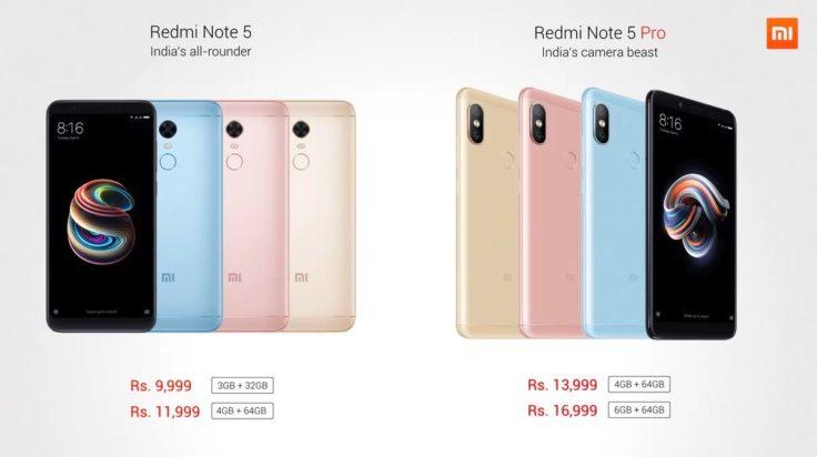 Xiaomi Redmi Note 5 & Note 5 Pro Preis