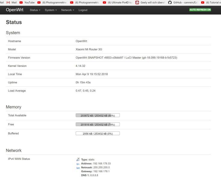 OpenWrt auf dem Xiaomi Mi Router 3G