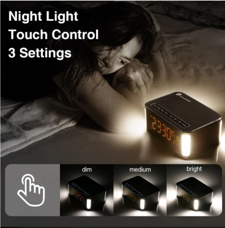 Houzetek DY32L Radio mit Bluetooth dimbares Nachtlicht