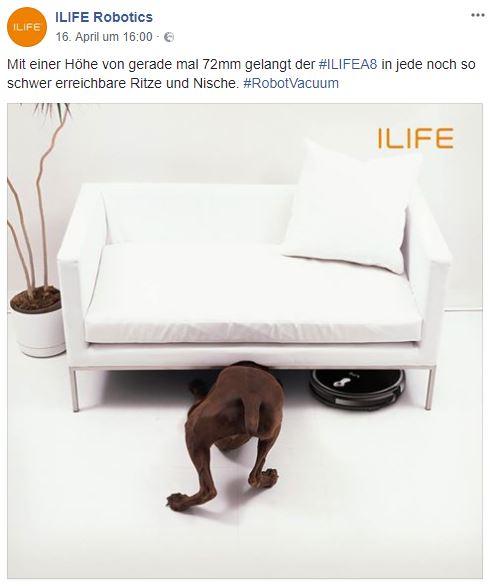 ILIFE A8 Saugroboter Chinawerbung Hund