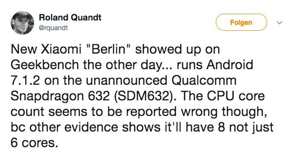 Tweet von Roland Quandt zum Thema Xiaomi Berlin