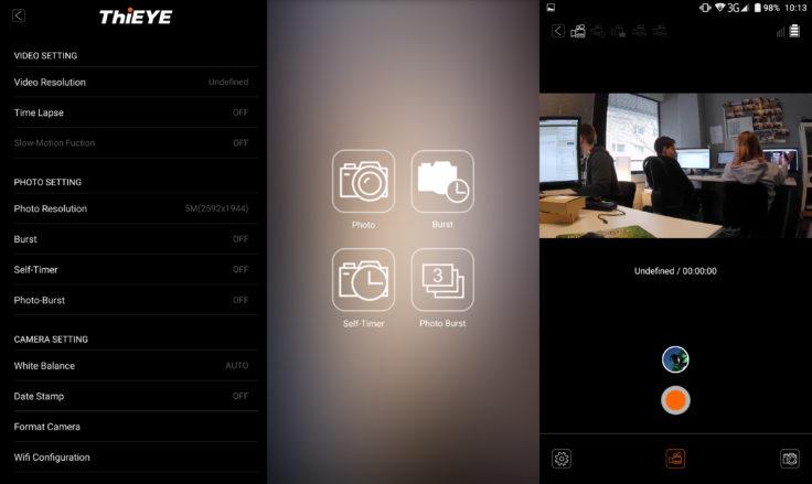 ThiEYE T5 Edge Actioncam App Aufnahmen