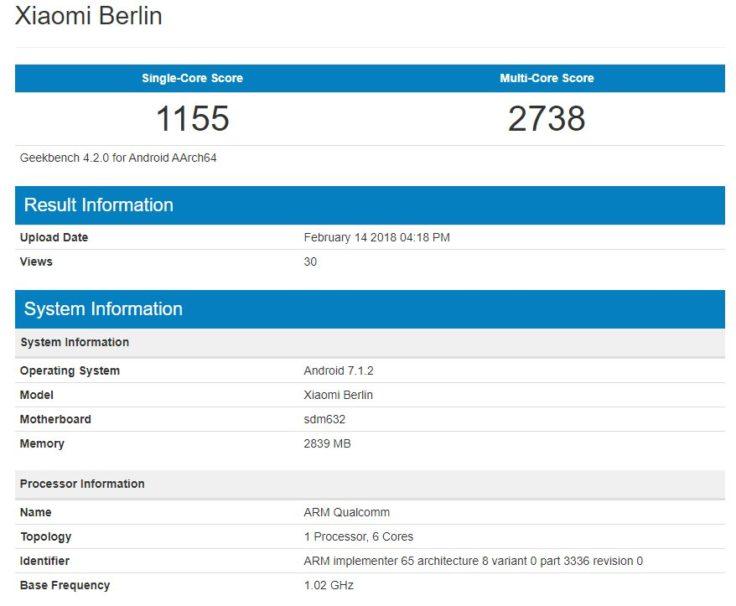 Screenshot von Geekbench zum Xiaomi Berlin Smartphone