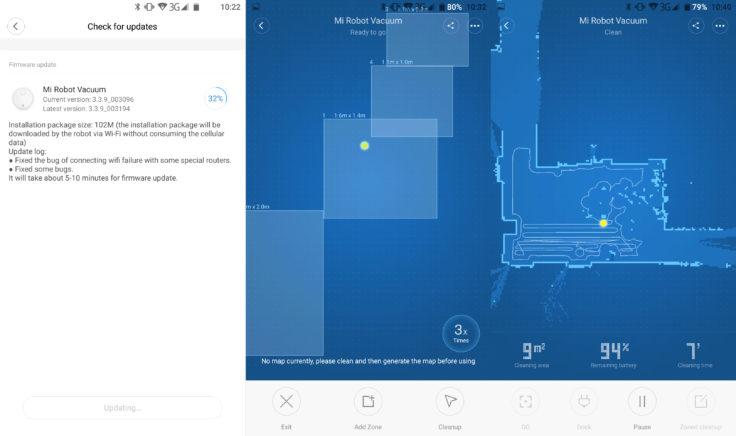 Xiaomi Mi Robot Saugroboter Raumeinteilung App Quadranten