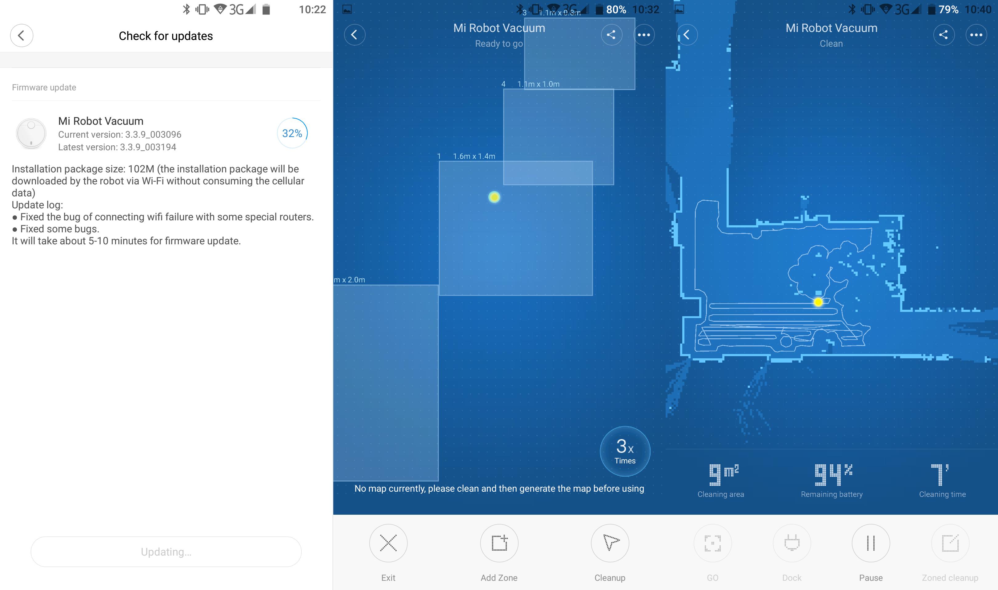 Sección de actualizaciones disponibles en la aplicación del robot