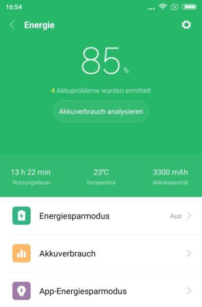 Xiaomi Redmi 5 Akkulaufzeit Screenshot