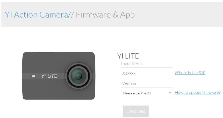 YI Lite Action Cam Firmware Update