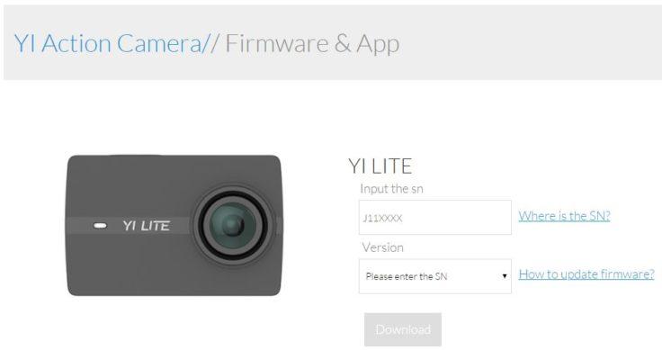 YI Lite Action Cam Firmware Update