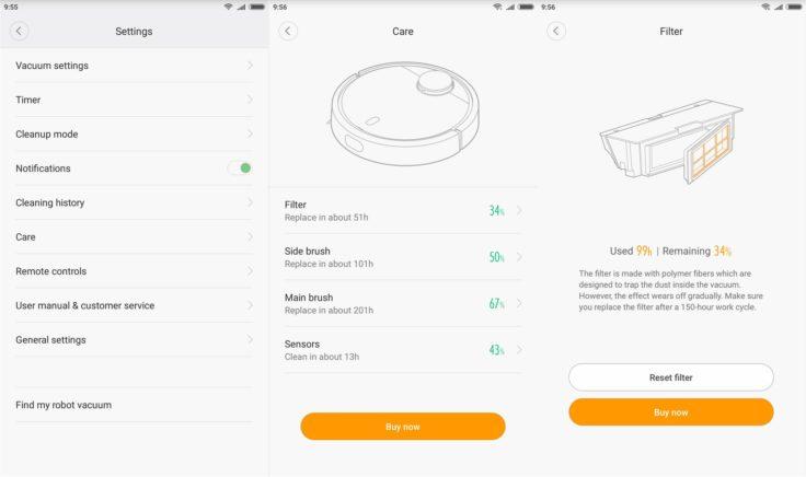 """Piezas/componentes del robot aspirador vistos desde """"Care"""" en la aplicación"""