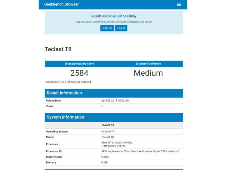 Teclast T8 Tablet Akku Benchmark 2