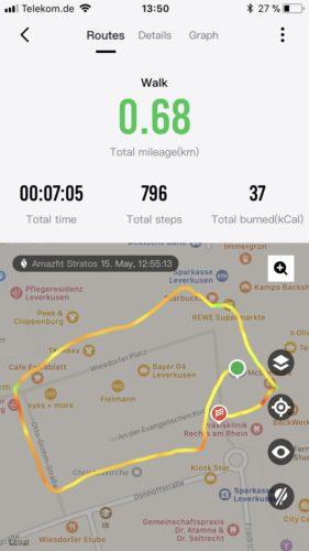 Huami Amazfit Stratos Ergebnisse Laufen GPS