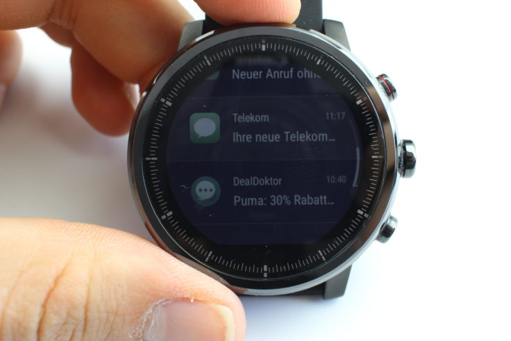 Huami Amazfit Stratos Notifications Anzeige