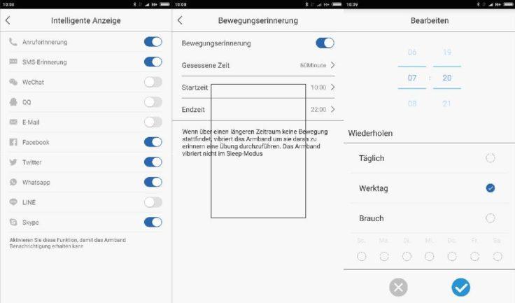 Lenovo Cardio Plus HW03X Smartband App Benachrichtigungen