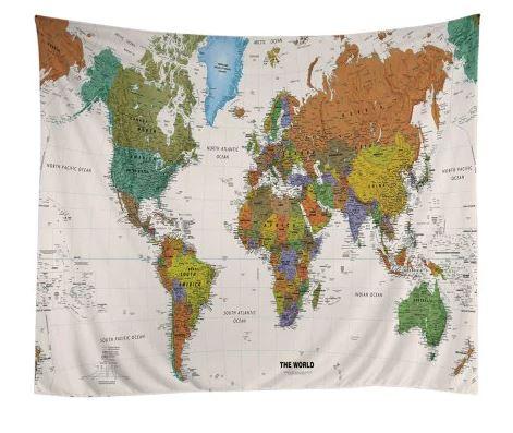 Leinwand mit Weltkarte Kontinente