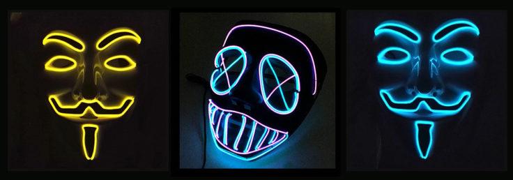 LED Lichtmaske Guy Fawkes