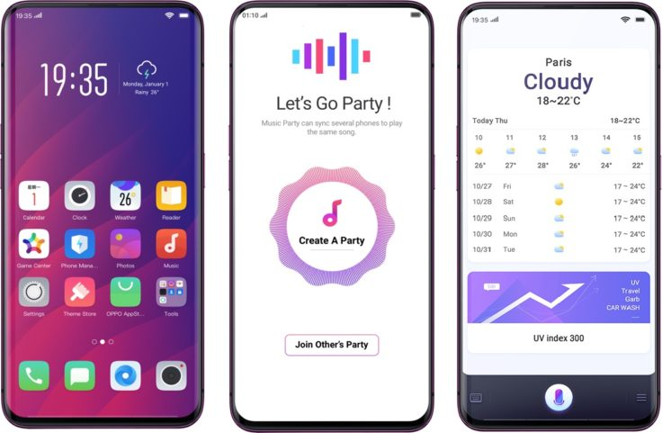 Oppo Find X Smartphone Betriebssystem Color OS