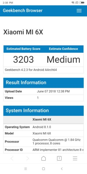 Xiaomi Mi 6X Geekbench Akku Benchmark