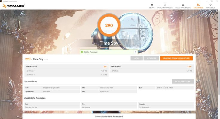 3DMark Benchmark Ergebnisse Teclast F6 Pro